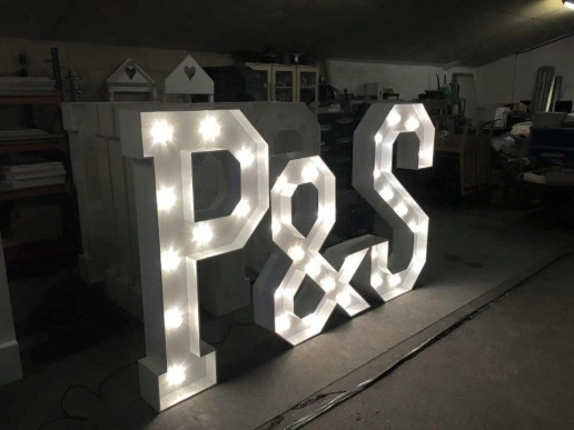 initials in light up letters